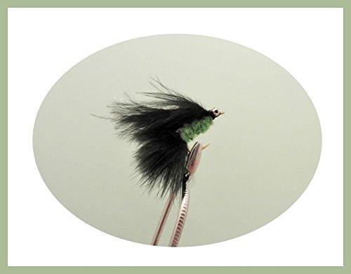Troutflies UK Lures Mini-Forellenfliegen, Katzen-Schnurrhaare, Schwarz und Grün, Größe 10, 6Stück