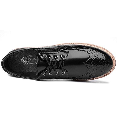 Damen Atmungsaktiv Lackleder Plateau mit 6 CM Aufzug Low-Top Schuhe mit Keilabsatz Schwarz