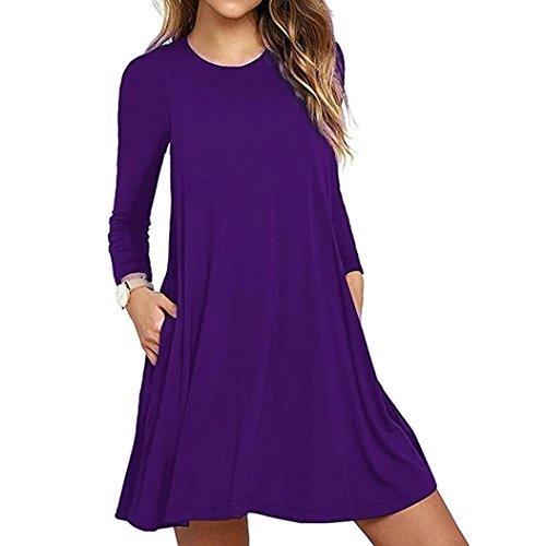 Damen Nachthemden Frauen Langarm Tasche beiläufige lose Kleid Nachtwäsche Nachthemden (XL/42, Violett) (Seiden-baumwoll-kleid Violett)