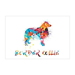 ArtsyCanvas Border Collie Watercolor Splatter Art (Poster), 36 x 24
