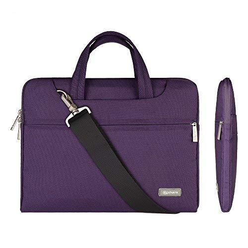Qishare 11.6-12-Zoll-Laptoptasche, multifunktionale Polyester-Laptoptasche, Verstellbarer Schultergurt und unterdrückter Griff, tragbarer Dokumentenordner (11,6-12 Zoll, Lila)