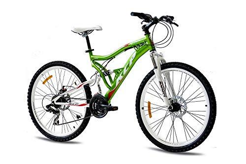 KCP 26 Zoll Mountainbike Fahrrad - MTB Attack grün Weiss - Vollfederung Mountain Bike Unisex für Herren, Damen oder Jungen, MTB Fully mit 21 Gang Shimano Schaltung und Zwei Scheibenbremsen -