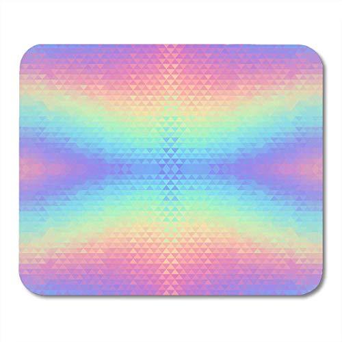 Luancrop Mauspads Blaues Einhorn Abstraktes Hologramm Lebendiges Muster Dreieckige Geometrische 80er und 90er Jahre Rosa Hipster Mauspad für Laptop, Desktop-Computer Bürobedarf Mauspads