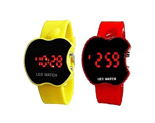 swissrock Combo Apple Form Kinder Gelb und Rot LED Armbanduhr Digital Apple Combo