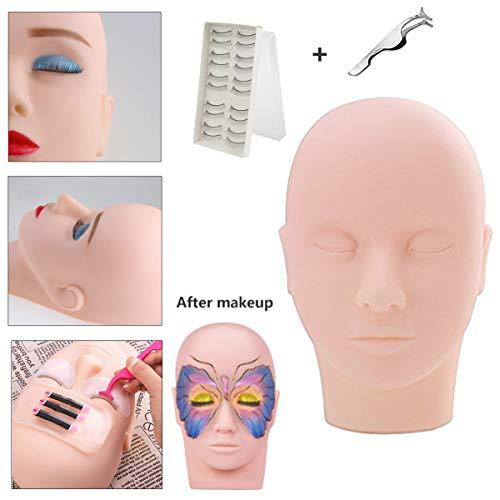 Tête d'entraînement, MYSWEETY tête de mannequin Maquillage Silicone Mannequin Modèle pour Eyelashes Cils Extension Exercise Poupée + 10 Eye Lashes +Eyelash Curler