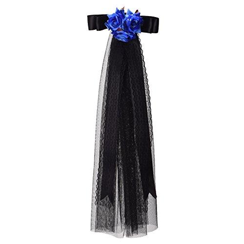 BLESSUME Gothic Frauen Steampunk Getriebe Flügel Uhr Schmetterling Hut Spitze Haarspange Kopfbedeckung (20 Arten) (D)