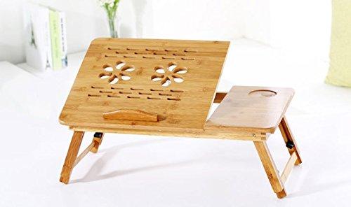 EVST tragbar Bambus faltbar Laptop Desk Notebook-verstellbar Höhe Tablett Tisch Bett Tisch mit Schublade (50cm*30cm*30cm with Ventilation Slots) (Bett Schubladen Verstellbares)