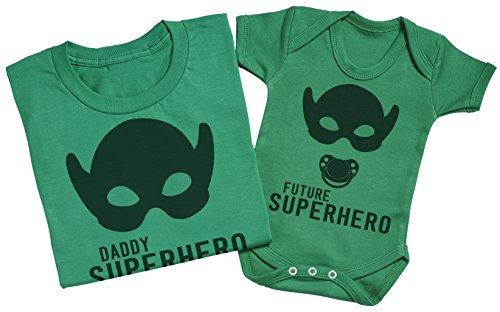 My Daddy The Super Hero - Passende Vater Baby Geschenkset - Herren T-Shirt & Baby Strampler / Baby Body Grün