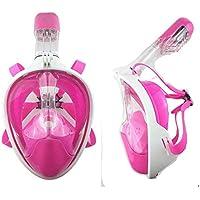 SWJJ Máscara De Buceo Gafas Snorkel Facial Completa Adulto 180° Vista Panorámica con Camara Deportiva para Buceo antivaho Dos en uno Rosa (L/XL)