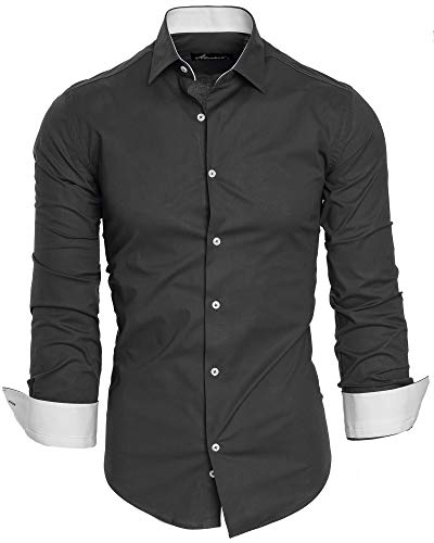 Amaci&Sons Herren Slim Fit Hemd Bügelleicht Business Freizeit Shirt 50002 Anthrazit M