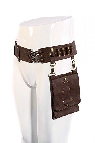 Steampunk Kunstleder Munitionsgürtel mit Tasche Damen Herren Braun Gürtel-Tasche (Herren Taschen Accessoires)