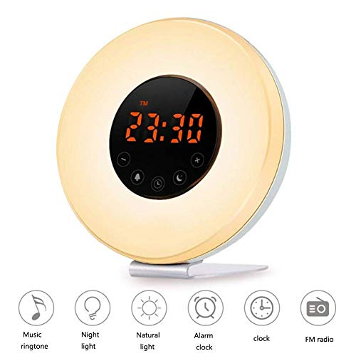 Lndixy 7 Color Atmosphere Wake Up Multi Touch Snooze Funktion Light Smart Alarm Clock USB Simulation Natural Sound Sunset Phototherapie Lamp Faded Fm Radio - Reise-alarm-sound-maschine