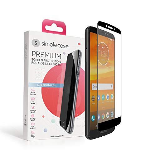 Simplecase Panzerglas passend zu Motorola Moto E5 Plus , FULL SCREEN Premium Bildschirmschutz , 100prozent Abdeckung , Optimaler Schutz , Extra Härtegrad 9H , Schwarz - 1 Stück