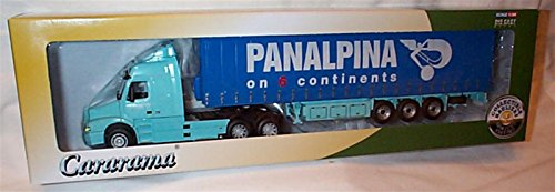 cararama-blue-volvo-nh12-panalpina-on-6-continents-curtainside-lorry-150-scale-diecast-model