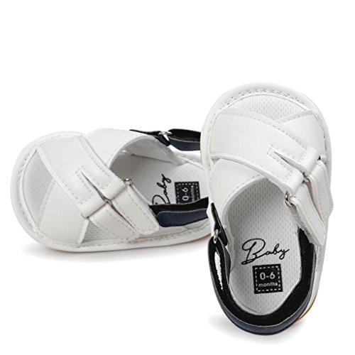 BZLine® Style Croisé PU Cuir Chaussons à Semelle en Caoutchouc pour Bébés Filles 0-18Mois Blanc