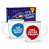Gifffted Tazze Coppia da tè E Caffe, Mr Always Right E Mrs Never Wrong, Regali per Le Coppie, Idee...