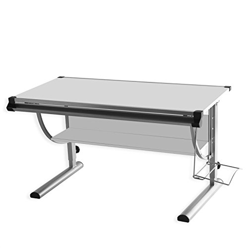 Kinderschreibtisch Schülerschreibtisch CINDY, höhenverstellbar und neigungsverstellbar, in weiß, stabiles Metallgestell -