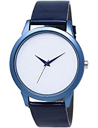 Star Villa Attractive Stylish Sport Look Blue Dial Stylish Blue Leather Strap Analog Watch For Men & Boys