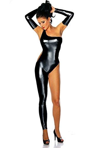 Zongsi Sexy Frauen Lackleder Club Catsuit Bodysuit Overall Clubwear Kostüm mit Handschuhen (Frauen Bodysuit Kostüme Schwarzen Für Mit)