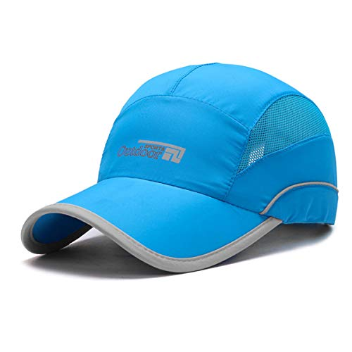 Gisdanchz UV Running Hats for Men,Mens Running Hat,UV Protection Breathable Outdoor Hats for Men Baseball Cap Running Fishing Hiking Sport Hat Under 10 Women UPF Quick-Drying Caps Sky Blue Womens Sky Blue Cap