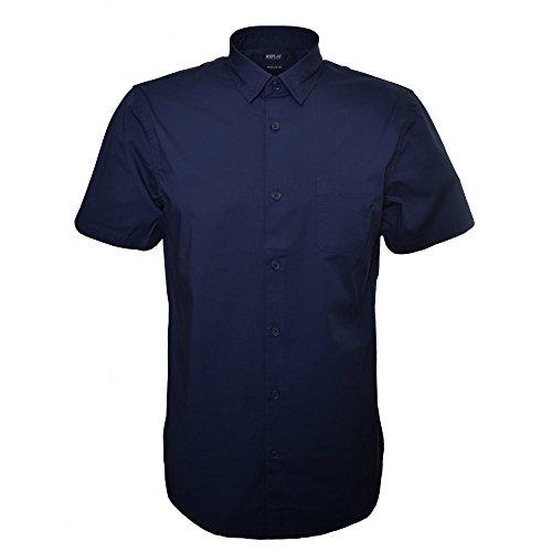 Replay - Chemise casual - Uni - Col Chemise Classique - Manches Courtes - Homme Bleu Marine