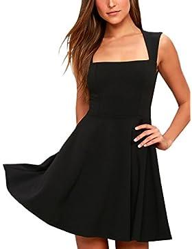 Mujer Verano Boda Vestido Fiesta Colores Lisos Delgado Pliegue Mini Dress de Coctel Partido Dress Moda Cuadrado...