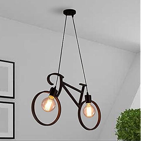 FULL Semplice Creativo lampada a sospensione per la decorazione, casa, bar, ristorante,club, etc in ferro bicicletta luce bambini camera arte , black, senza luce