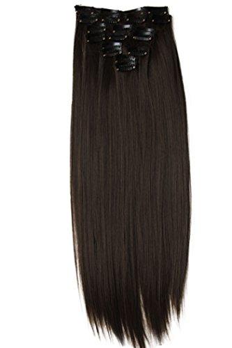 PRETTYSHOP XXL 60cm 8 teiliges SET Clip In Extensions Haarverlängerung Haarteil hitzebeständig glattbraun 8 CES2