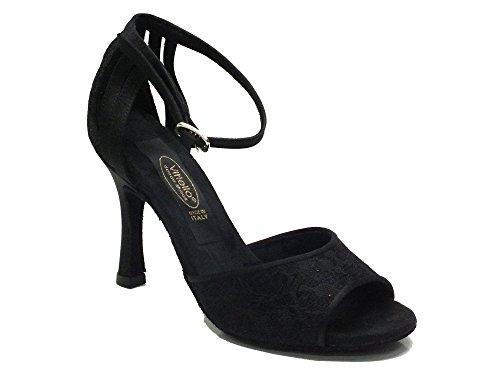 Vitiello Dance Shoes  411 Raso Fiore Nero / Raso Nero, Chaussons de danse pour femme Noir Nero Noir - Macramè Nero