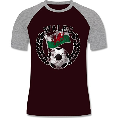 EM 2016 - Frankreich - Wales Flagge & Fußball Vintage - zweifarbiges  Baseballshirt für Männer Burgundrot