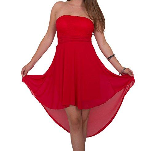 Designer Damen Abendkleid mit Spitze Vokuhila Etui Kleid Neu XS S M in meheren Farben Rot