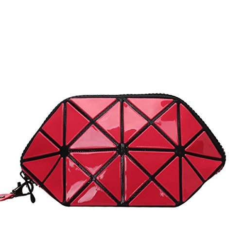 Frauen Unregelmäßige Geometrische Form Handtasche Kosmetiktasche watermelonred