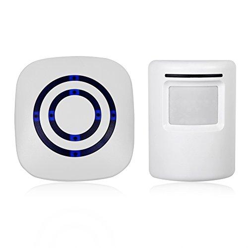 Alarm/Türklingel per Induktion, mit Bewegungsmelder, Energieversorgung ohne Batterie, mit Empfänger und Sensoren, EU-Stecker (weiß)