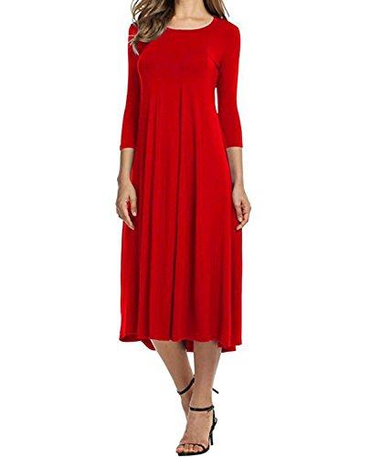 DEMO Damen Midi Kleid Allgleiches Swing Kleid Herbst und Winter ...