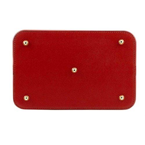 Italienische Ledertasche TL Minerva, Damen Schultertasche Secchiello aus Saffiano Leder, Made in Italy Rot