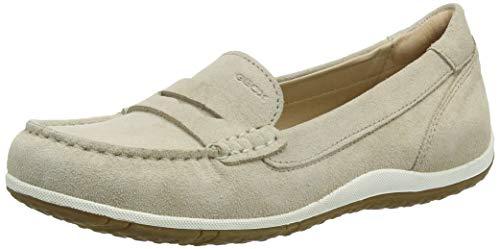 Leder-moc-loafer (Geox Damen D Vega Moc a Mokassin, Beige (Lt Taupe C6738), 40 EU)
