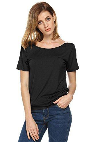 ACEVOG Damen T-Shirt Casual Langarm Rückenfrei Tops mit Spitzen Stretch Langshirt Gr.36-44 Schwarz