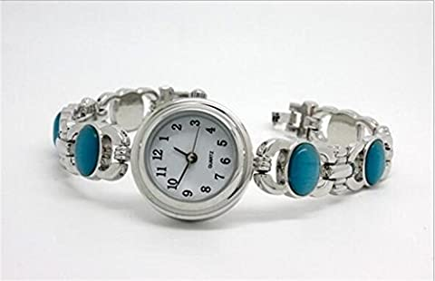 Liyongdong Alloy Chain Watch Green Gem Opal Watches Lady Small Chronograph , White