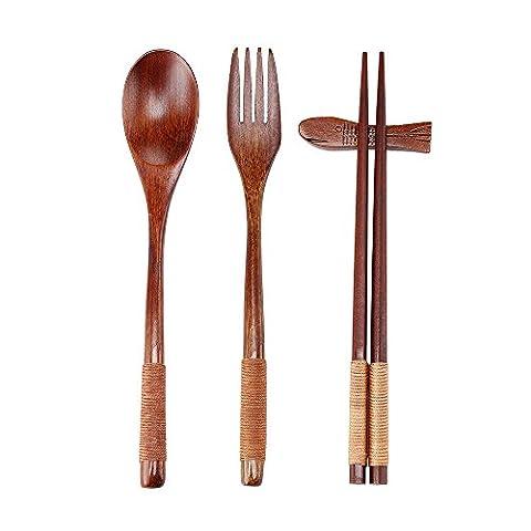 Ecloud Shop® Natural Wooden Tableware Sets of 5-pieces (1 Spoon, 1 Chopsticks, 1 Fork, 1 Chopsticks Holder, 1 Tableware Bag Japanese Style Blue Black