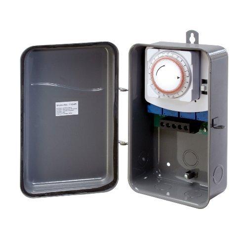 Westek TM104R 208 to 277 Volt DPST 40 AMP Hardwire Outdoor Heavy Duty Mechanical Timer Switch, Gray by Westek - Dpst-timer