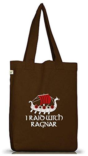 Shirtstreet24, I Raid Con Ragnar, Vikings Jutebeutel Stoff Tasche Earth Positivo (taglia Unica) Brown