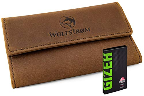 Wolfstrøm Tabaktasche Taruk - Tabak-Beutel Leder, Set inkl. Gizeh Papers - Dreher-Tasche mit Magnetverschluss, Filterfach & Blättchen-Halter - Braun