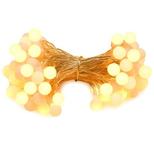 (MoKo Globe Lichterkette , 10m/33ft 100 LED Wasserdicht Bälle String Licht, 2 Beleuchtung Modi, Batteriebetriebenes Feenlicht für Halloween Weihnachten Hochzeiten Geburtstag Familie Schulparties Dekor, Warm Weiß)