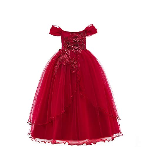 kind Mädchen Kalte Schulter Prinzessin Kleid Kleine Mädchen Gestickte Blume Bowknot Tüll Langes Kleid Ball Party Festzug Kleid ()