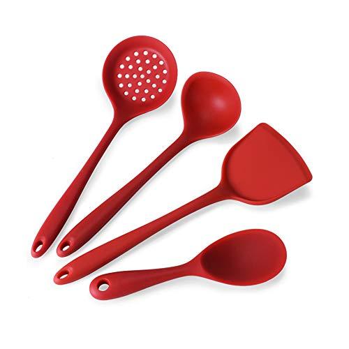 4-Teiliges Geschirr Silikon Geschirr Set Kochwerkzeug Löffel Spatel (Rot) Gc Tools-gadgets