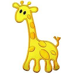 Toppe termoadesive - giraffa animale bambini - giallo - 9,4x6,5cm - Patch Toppa ricamate Applicazioni Ricamata da cucire adesive