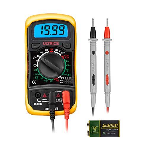 ULTRICS Digital Multimeter LCD, Voltmeter, Amperemeter, Spannungsprüfer, Ohmmeter, Strommessgerät, Durchgangsprüfer, Mini Hand-Multimeter OHM AC DC Circuit Tester 1000V 10A Prüfer mit Sonden