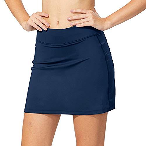 Sudawave Damen Skort Sport Hosenrock mit Tasche für Laufen Tennis Golf (Blau, XL)