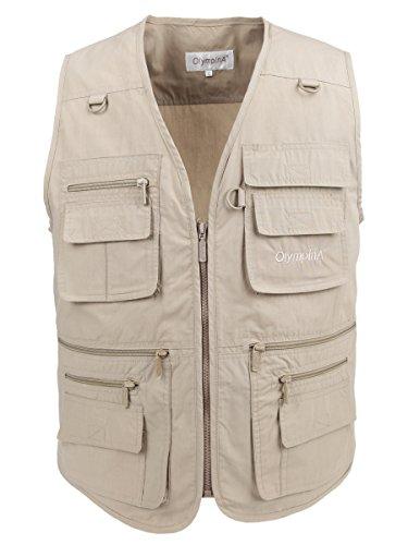 LUSI MADAM Herren Outdoor Sports Multi Tasche Jacke Weste EU L/Asia 3XL Khaki
