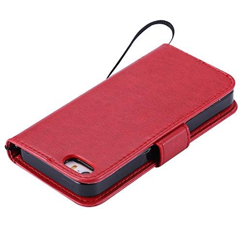 Custodia Pelle per iPhone SE,Simpatico Cartone Animato Modello Case per iPhone SE,BtDuck Ultra Slim Morbida PU Leather Flip Libro Bookstyle Wallet Portafoglio Supporto Stand Porta Carte Chiusura Magne #1 Rosso